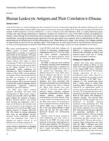 Human Leukocyte Antigens and Their Correlation to Disease